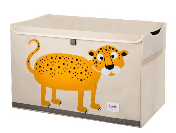 3 Sprouts Toy Chest - Uzavíratelná bedýnka na hračky - Leopard
