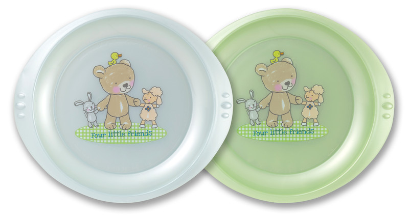 "Rotho® Modern Feeding Four Little Friends ""Plate"" - Talíř 2 ks - Baby blue / Mintgreen perl"