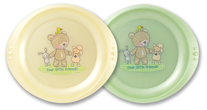 "Rotho® Modern Feeding Four Little Friends ""Plate"" - Talíř 2 ks - Vanille perl / Mintgreen perl"