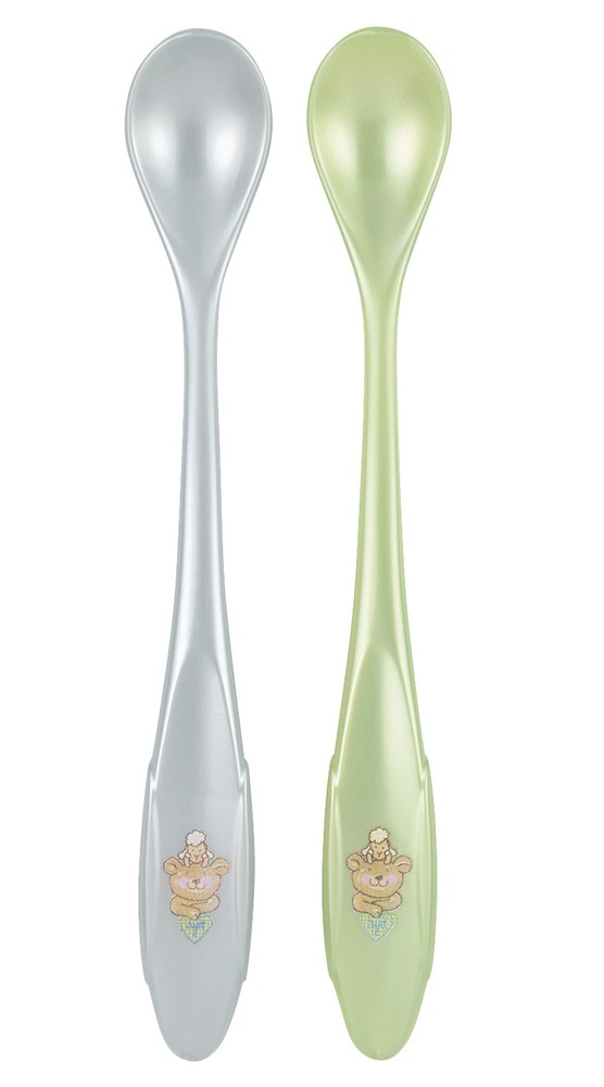 "Rotho® Modern Feeding Four Little Friends ""Long handled Spoons 2 pcs"" - Lžíce s extra dlouhou rukojetí 2ks - Baby blue / Mintgreen perl"