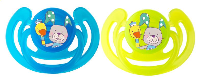 "Rotho® Modern Feeding Cool Friends ""Soothers"" - Dudlík - Smile- Aquamarine / Apple green"