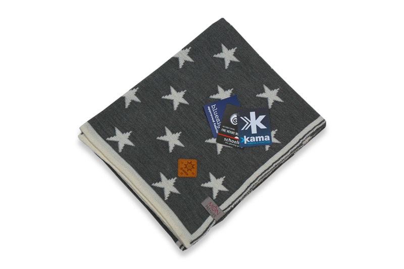 Dětská deka 100% hvězdy 100 x 120 cm - Bílá + šedivá