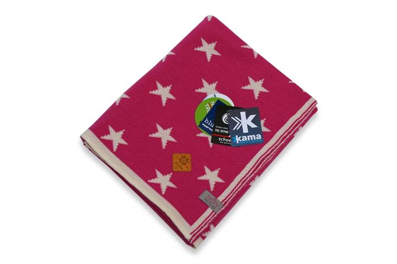 Dětská deka 100% hvězdy 70 x 80 cm - Bílá + světle růžová