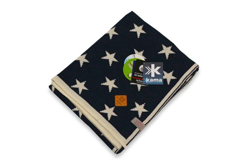 Dětská deka 100% hvězdy 70 x 80 cm - Bílá + tmavě modrá