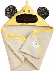 3 Sprouts Hooded Towel - Osuška s kapucí - Monkey Yellow