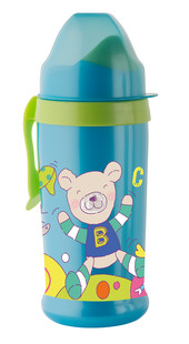 "Rotho® Modern Feeding Cool Friends ""Active sipper soft spout"" - Láhev s měkkou hubičkou 360 ml - Aquamarine / Apple green"
