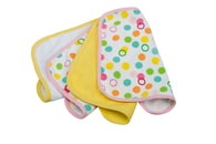 "Rotho® Accessories ""Wash Cloths"" - Žínka na mytí miminek - Bubbles yellow/pink 4kusy"