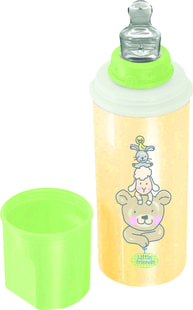 "Rotho® Modern Feeding Four Little Friends ""Stay warm bottle"" - Termolahev - Four little friends - Vanilla Pearl/Mintgreen/White"