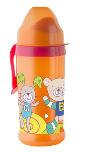 "Rotho® Modern Feeding Cool Friends ""Active sipper soft spout"" - Láhev s měkkou hubičkou 360 ml - Raspberry / Mandarine"