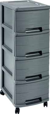 CURVER Ribbon 4 Drawers Shelf - Zásuvková police (kolečka) Dark Grey